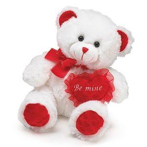 "NWT White Valentine Bear - ""Be Mine"" on Heart - Bu"